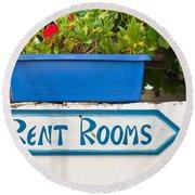 Rent Rooms Sign Round Beach Towel