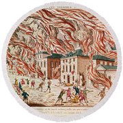 Representation Of The Terrible Fire Of New York Round Beach Towel