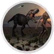 Reptoids Tame Dinosaurs Using Telepathy Round Beach Towel