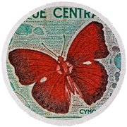 Republique Centrafricaine Butterfly Stamp Round Beach Towel