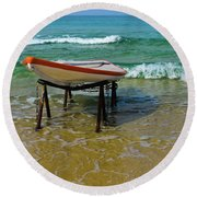 Rescue Boat In Anticipation Of Work Round Beach Towel