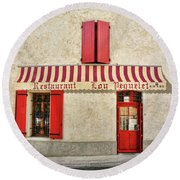 Restaurant In Provence Round Beach Towel