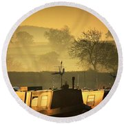 Resting Narrowboats Round Beach Towel
