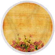Retro Flower Pattern Round Beach Towel