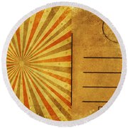 Retro Grunge Ray Postcard Round Beach Towel