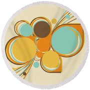 Retro Pattern Round Beach Towel