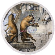 Reynard The Fox, 1846 Round Beach Towel