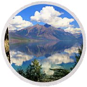 Rflection On Lake Mcdonald Round Beach Towel