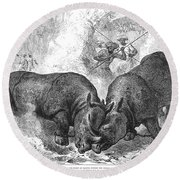 Rhinoceros Fight, 1875 Round Beach Towel