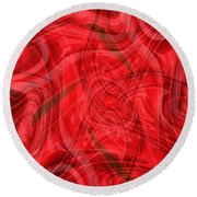 Ribbons Of Red Abstract Round Beach Towel