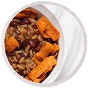 Rice And Beans With Chile Cheese Fritos Round Beach Towel