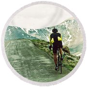 Ride The Rockies Round Beach Towel