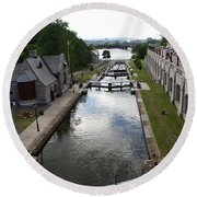 Rideau Canal And Locks - Ottawa Round Beach Towel