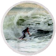Riding In Beauty Round Beach Towel by Karen Wiles