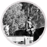 Riding Soldiers B And W II Round Beach Towel