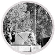Riding Soldiers B And W IIi Round Beach Towel