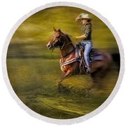 Riding Thru The Meadow Round Beach Towel by Susan Candelario