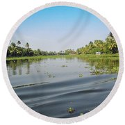 Ripples On The Water Of The Saltwater Lagoon In Alleppey In Kerala In India Round Beach Towel
