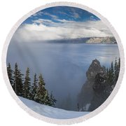 Rising Mists From Crater Lake Panorama Round Beach Towel