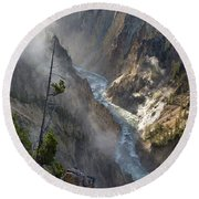Rising Mists From Grand Canyon Of The Yellowstone Round Beach Towel