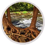 River And Roots Round Beach Towel