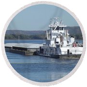 River Barge Round Beach Towel