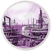 River Boats Round Beach Towel