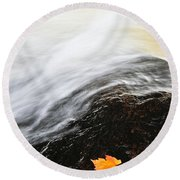 River In Fall Round Beach Towel