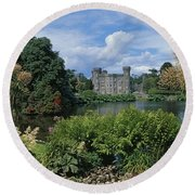 River In Front Of A Castle, Johnstown Round Beach Towel