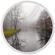 River In The Fog Round Beach Towel
