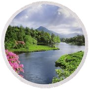 River Leading To A Mountain Round Beach Towel