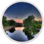 River Or Harbour Round Beach Towel