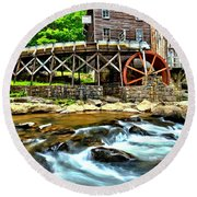 River Rock And A Grist Mill Round Beach Towel