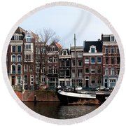 River Scenes From Amsterdam Round Beach Towel