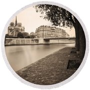 River Seine And Cathedral Notre Dame Round Beach Towel