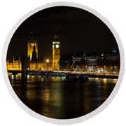 River Thames And Westminster Night View Round Beach Towel