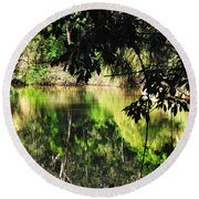River Through The Trees Round Beach Towel