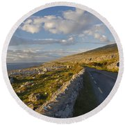 Road Along The Burren Coastline Region Round Beach Towel