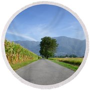 Road And Trees Round Beach Towel