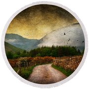 Road By The Lake Round Beach Towel