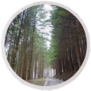 Road In The Forest Round Beach Towel