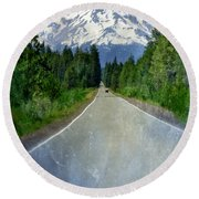 Road Leading To Snow Covered Mount Shasta Round Beach Towel