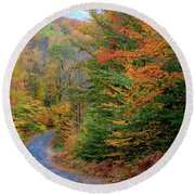 Road Through Autumn Woods Round Beach Towel by Larry Landolfi and Photo Researchers