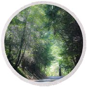 Road To Apple Hill Round Beach Towel