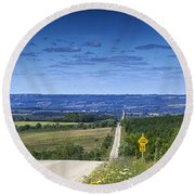 Road To The Valley Round Beach Towel