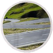 Road With Curves Round Beach Towel by Mats Silvan