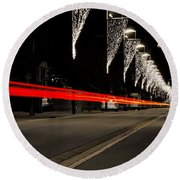 Road With Lights Round Beach Towel