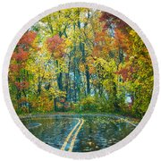 Roadway After The Rain  Round Beach Towel