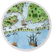 Roanoke Landing, 1585 Round Beach Towel