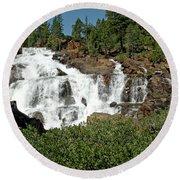 Roaring Falls Glen Alpine Falls Round Beach Towel